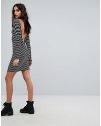 PRETTYLITTLETHING - Black Striped Low Back Dress - Lyst