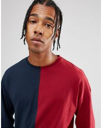 ASOS - Blue Long Sleeve T-shirt With Spliced Front And Bellow Sleeve for Men - Lyst