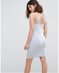 New Look - Blue Frill Bodycon Dress - Lyst