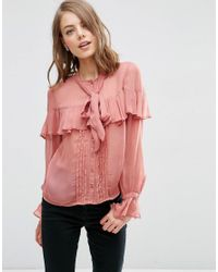 ASOS | Pink Ultimate Pussy Bow Ruffle Blouse | Lyst