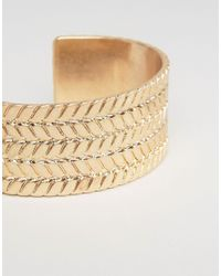 ASOS - Metallic Plaited Bangle In Gold for Men - Lyst