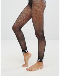 ASOS - Black Stripe Cuff Footless Fishnet Tights - Lyst