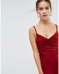 ASOS - Red Cami Jumpsuit With Rouched Bodice And Wide Leg - Lyst
