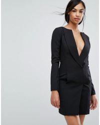 Lavish Alice - Black Off The Shoulder Tuxedo Mini Dress - Lyst