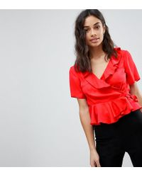 ASOS - Red Wrap Top With Ruffle Detail - Lyst