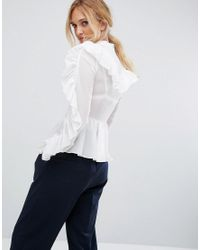 True Decadence - White Ruffle Detail Blouse - Lyst
