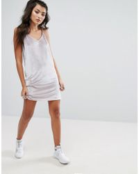 PUMA - Gray Exclusive To Asos Velvet Mini Dress - Lyst