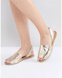 Warehouse | Metallic Two Part Slingback Sandal | Lyst