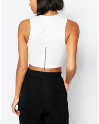 Vero Moda - White Zip Back Detail Crop Top - Ivory - Lyst