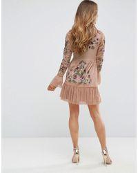 Frock and Frill - Natural Allover Premium Embellished Fluted Hem Detail Skater Dress - Lyst
