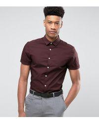 ASOS - Red Tall Slim Shirt In Burgundy for Men - Lyst