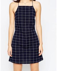 ASOS - Black Linen Check Sundress - Lyst