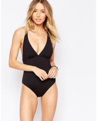 Echo - Black Rouched Swimsuit - Lyst