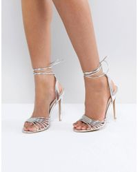 7d2d4ef52c0c Lyst - True Decadence Silver Ankle Tie Heeled Sandal in Metallic