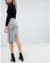 ASOS - Gray Tailored Side Stripe Pencil Skirt - Lyst