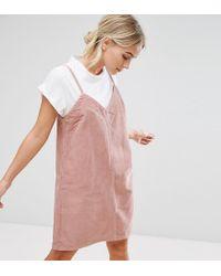 ASOS - Asos Petite Cord Slip Dress In Pink - Lyst