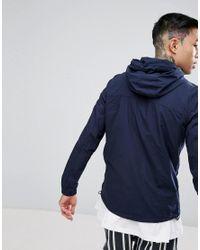 Pull&Bear - Blue Zip Through Hooded Jacket In Navy for Men - Lyst