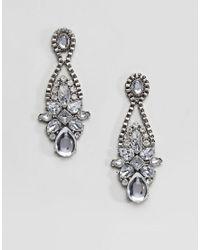 True Decadence - Metallic Pewter Stone Statement Earrings () - Lyst