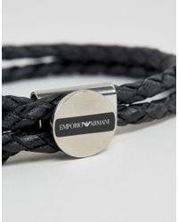 Emporio Armani - Leather Logo Bracelet In Black for Men - Lyst