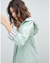 Miss Selfridge - Green Striped Cuff Raincoat - Lyst