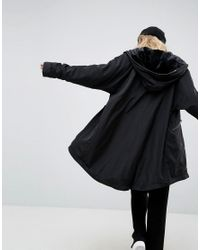 ASOS - Black Midi Rain Jacket With Faux Fur Liner - Lyst