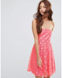 Zibi London - Red Lace Bandeau Skater Dress - Lyst