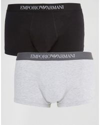 Emporio Armani | Multicolor Cotton Trunks In 2 Pack for Men | Lyst