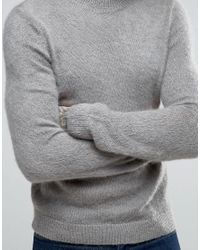 ASOS - Mohair Mix Crew Neck Sweater In Gray for Men - Lyst