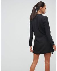 ASOS DESIGN - Black Asos Mini Wrap Dress With Tab Side Detail - Lyst
