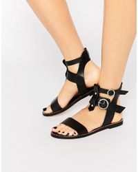 Warehouse - Black Leather Double Buckle Flat Sandal - Lyst