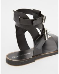 Warehouse - Black Leather Double Buckle Flat Sandal - Lyst