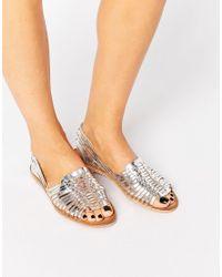 Warehouse | Metallic Huarache Plaited Sandal | Lyst