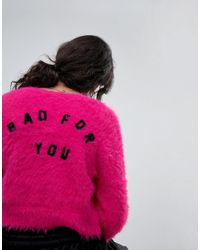 Lazy Oaf - Pink Shrunken Cardigan In Fluffy Knit With Bad For You Back - Lyst