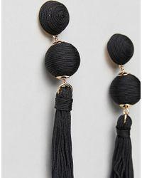 ASOS - Black Wrapped Bead & Tassel Earrings - Lyst