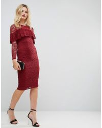 ASOS - Red Midi Lace Pencil Dress With Long Sleeves And Frill Detail - Lyst
