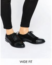 ASOS | Black Make-up Wide Fit Leather Brogues | Lyst