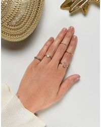 ASOS - Metallic Pack Of 5 Stone Etched Ring Pack - Lyst