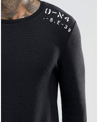 ASOS - Black Waffle Extreme Muscle Long Sleeve T-shirt With Text Print for Men - Lyst