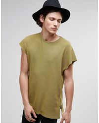 ASOS | Green Oversized T-shirt In Waffle With Acid Wash And Side Splits for Men | Lyst