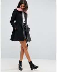 ASOS DESIGN - Black Asos Skater Coat With Pink Faux Fur Collar - Lyst
