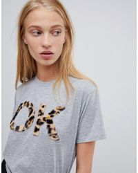 ASOS Gray T-shirt Ok Fluffy Animal Print