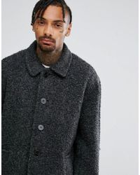ASOS - Gray Borg Overcoat In Charcoal for Men - Lyst