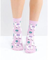 ASOS - Pink Fluffy Llama Ankle Socks - Lyst