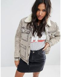 ASOS | Brown Denim Borg Jacket In Acid Wash | Lyst