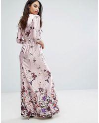 Club L - Pink 3/4 Sleeve V Neck Maxi Dress In Border Print - Lyst