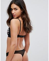 Pieces - Natural Embroidered Thong - Lyst