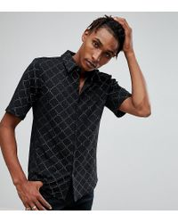 Reclaimed (vintage) - Black Inspired Jersey Shirt With Short Sleeves With Gold Design for Men - Lyst