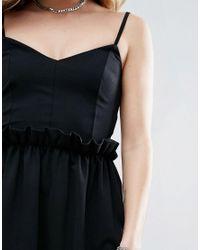 ASOS - Black Mini Dress With Frill Waist Detail - Lyst