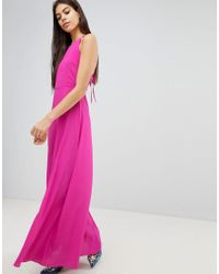 ASOS DESIGN - Pink Asos Open Back Halter Maxi Dress - Lyst