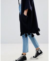French Connection | Blue Annabel Tassel Wool Mix Knit Cardi | Lyst